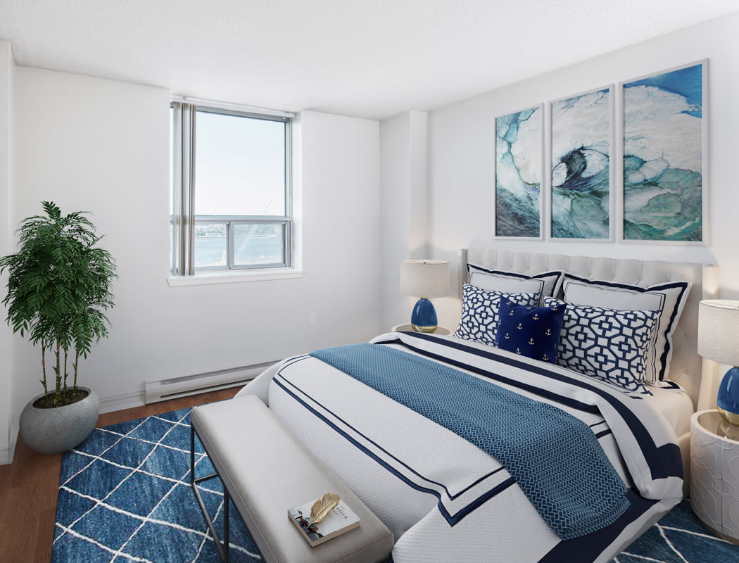 Beautiful bedroom at Cunard Apartments in Halifax, Nova Scotia