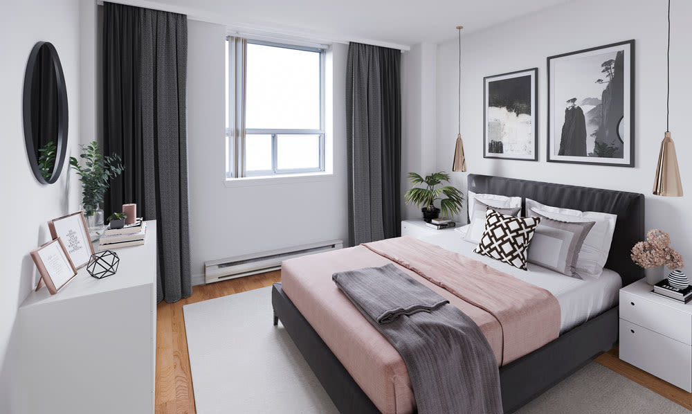 Enjoy our unique apartments bedroom at Cunard Apartments