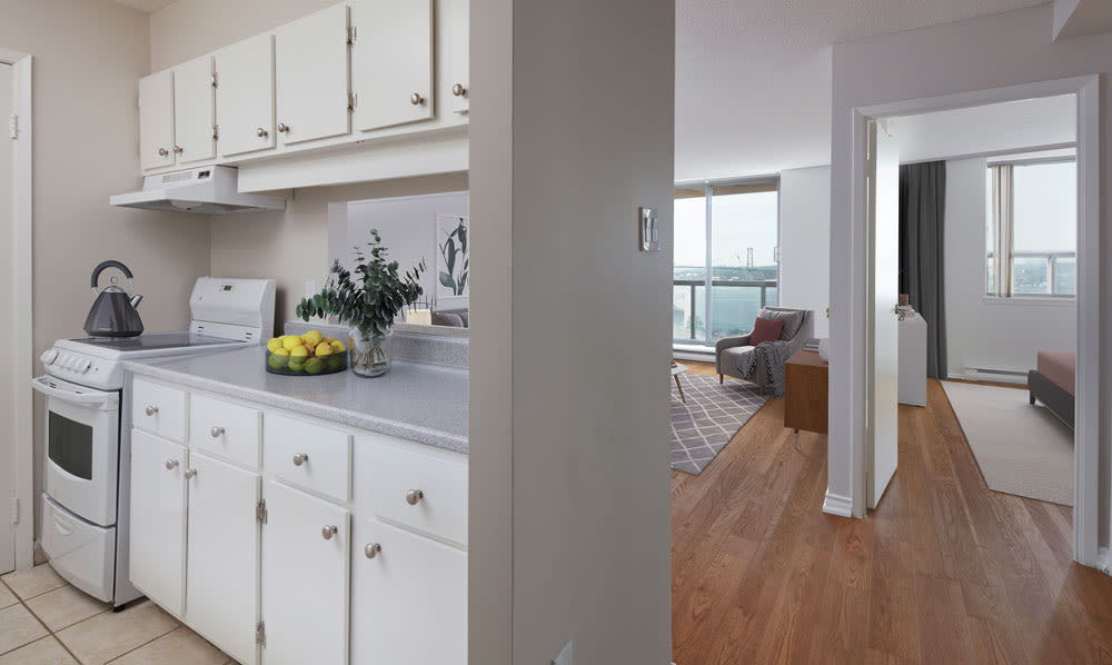 Renovated kitchen at Cunard Apartments in Halifax, Nova Scotia