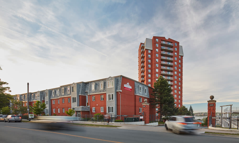 Exterior street view of Cunard Apartments in Halifax, NS