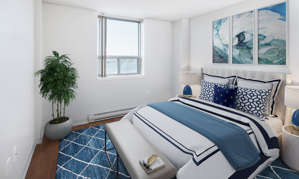 Cozy bedroom at Cunard Apartments in Halifax, Nova Scotia