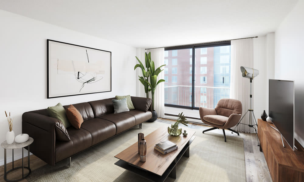 Renovated living room at Halifax Apartments in Halifax, Nova Scotia