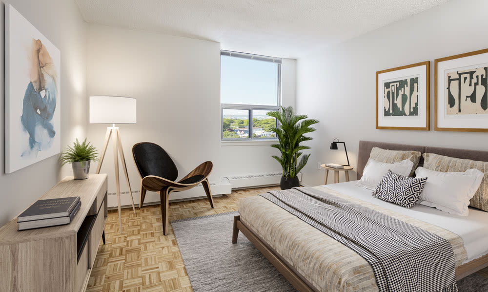 MacDonald Apartments offers a naturally well-lit bedroom in Halifax, Nova Scotia