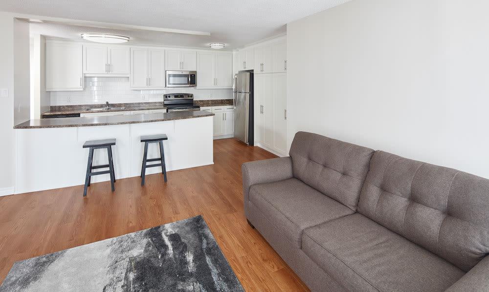 MacDonald Apartments offers a modern living room in Halifax, Nova Scotia
