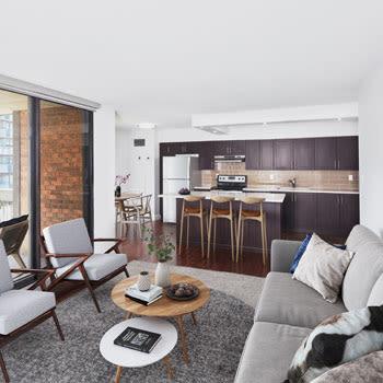 Kitchen amenities at 57 Charles at Bay in Toronto