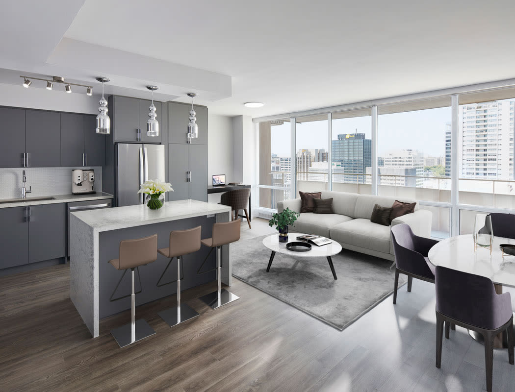 Spacious kitchen at Bretton Place in Toronto, Ontario