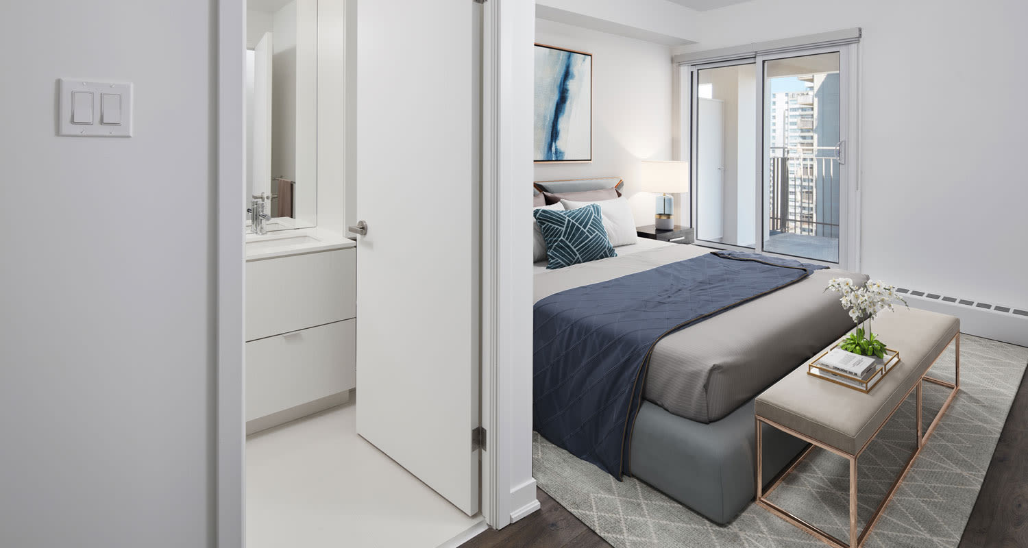 Bretton Place offers a modern bedroom in Toronto, Ontario