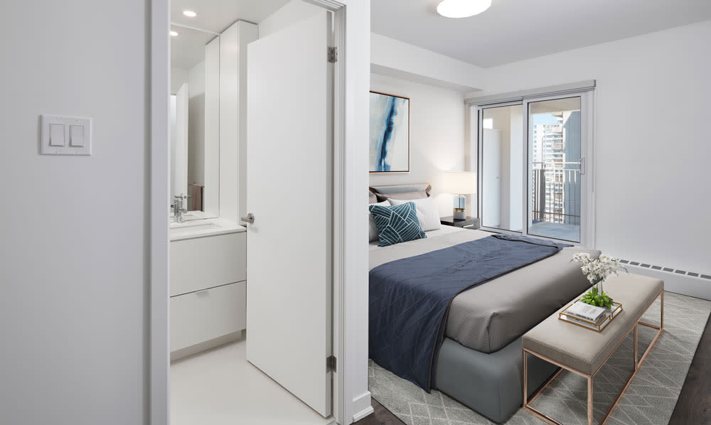 Modern bedroom at Bretton Place in Toronto, Ontario