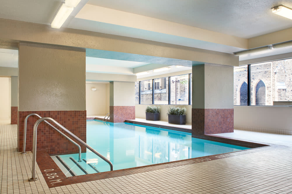 Enjoy our beautiful apartments swimming pool at Residences on Bloor