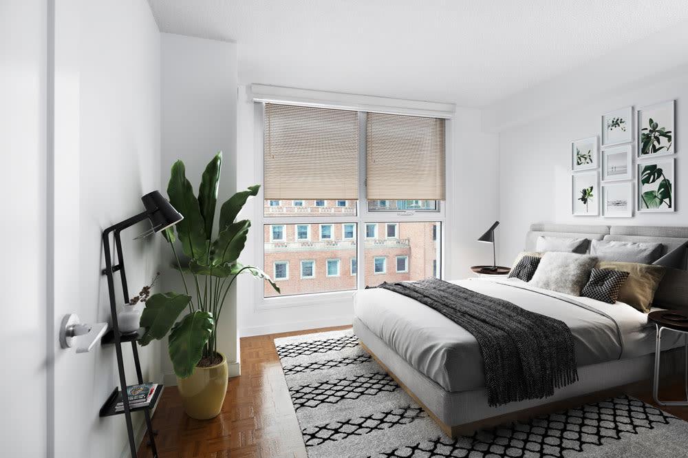 Residences on Bloor offers a modern bedroom in Toronto, Ontario