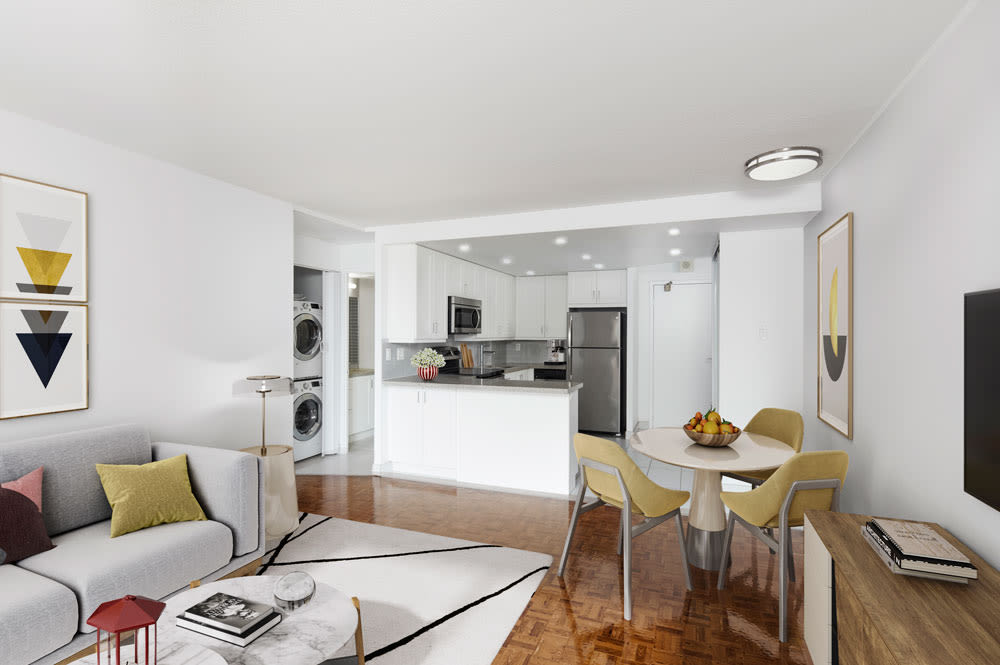 Residences on Bloor offers a naturally well-lit living room in Toronto, Ontario