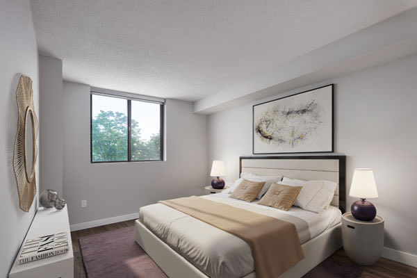 Beautiful bedroom at The Galleria in North York, Ontario