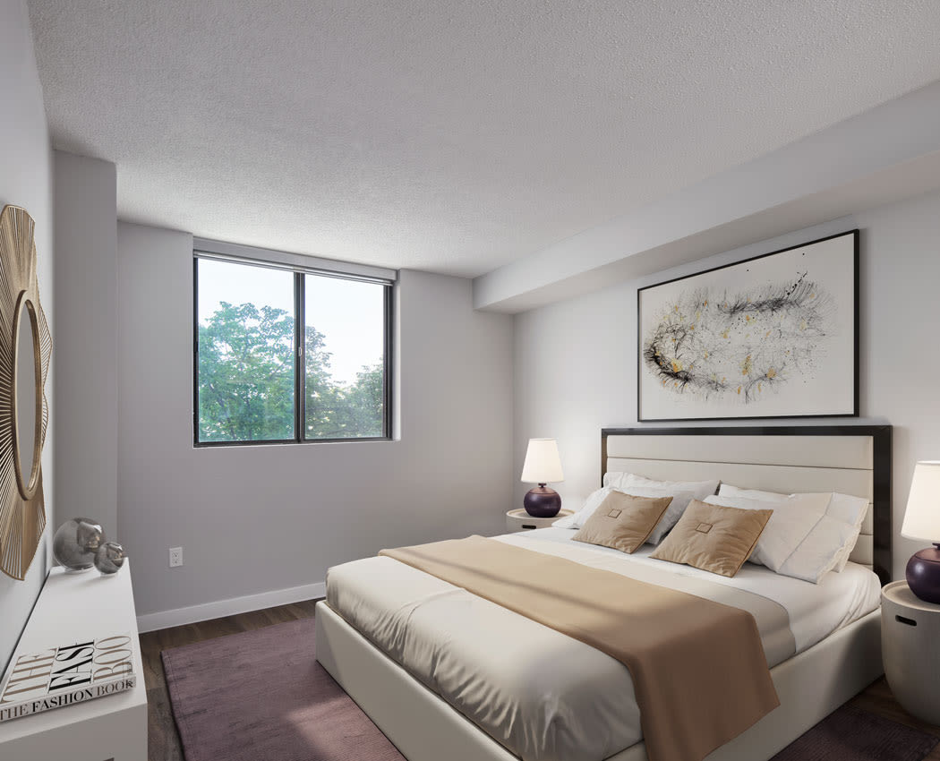 Modern bedroom at The Galleria in North York, Ontario
