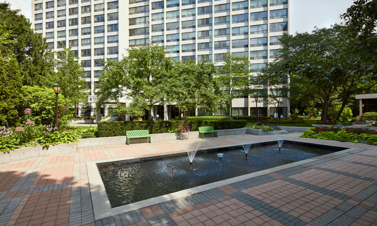 Beautiful fountain area outside of Widdicombe Place