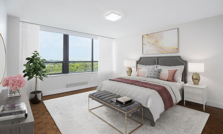 Modern bedroom at Widdicombe Place in Etobicoke, Ontario
