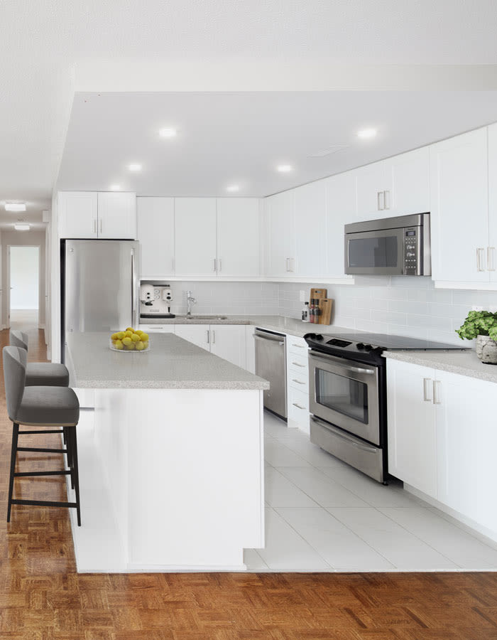 Modern kitchen at Widdicombe Place in Etobicoke