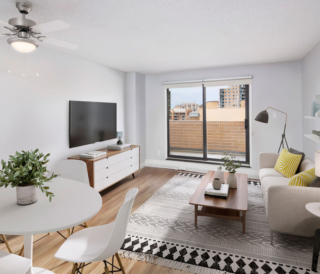 Beautiful living room at Royal View Apartments in Calgary