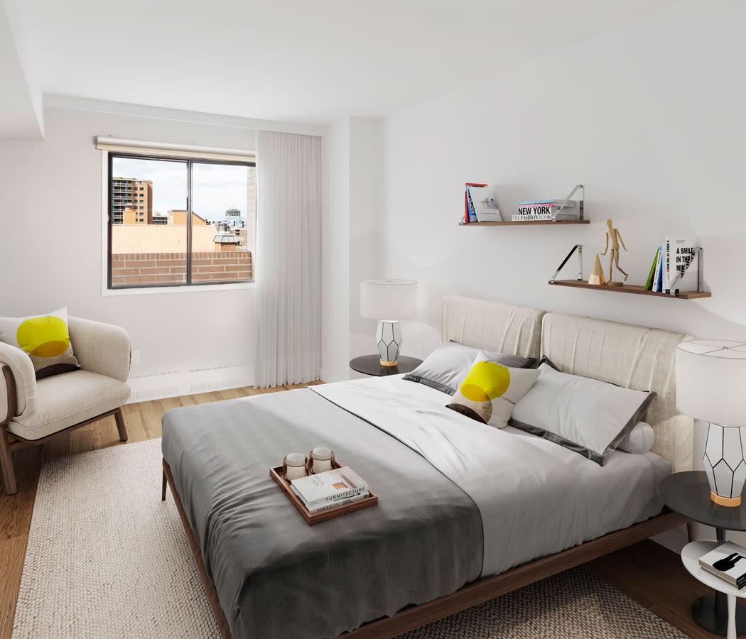 Master bedroom at Royal View Apartments in Calgary
