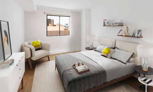 Modern bedroom at Royal View Apartments in Calgary, Alberta
