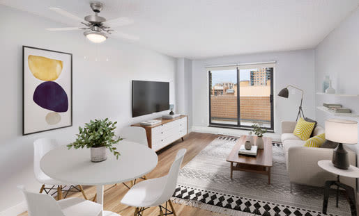 Royal View Apartments offers a naturally well-lit living room in Calgary, Alberta