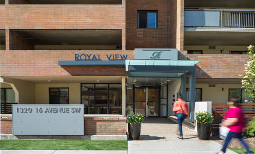Exterior entrance view of Royal View Apartments