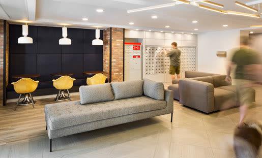 lobby waiting area at Royal View Apartments in Calgary, AB