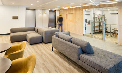 Lobby with ample seating at Royal View Apartments in Calgary, AB