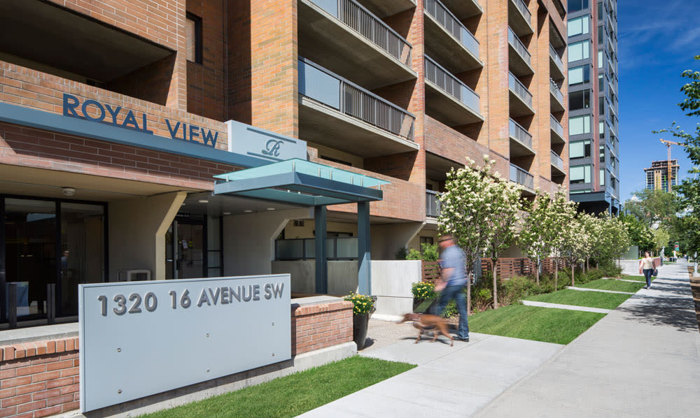 Street view of exterior entrance at Royal View Apartments