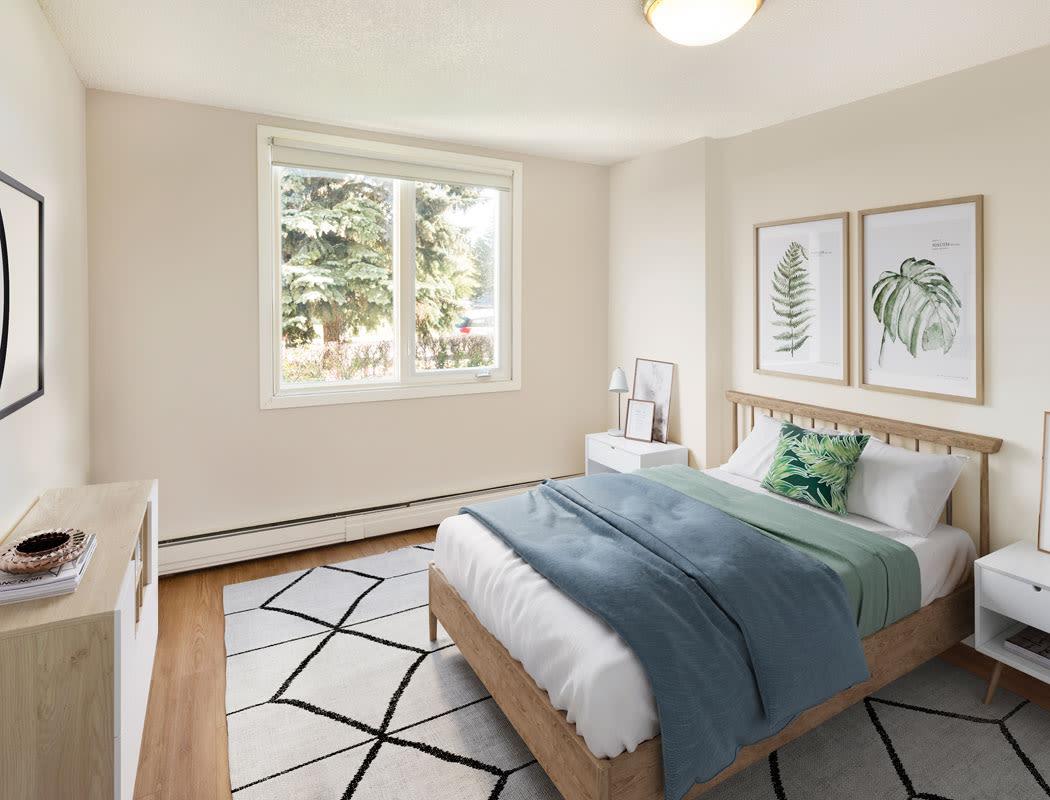Beautiful bedroom at Glenmore Heights in Calgary, Alberta