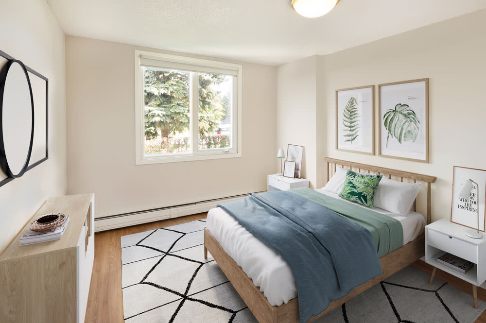 Beautiful bedroom at Glenmore Heights in Calgary, Alberta