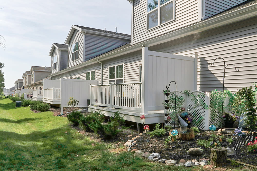 Spacious private patio at The Links at CenterPointe Townhomes in Canandaigua, New York