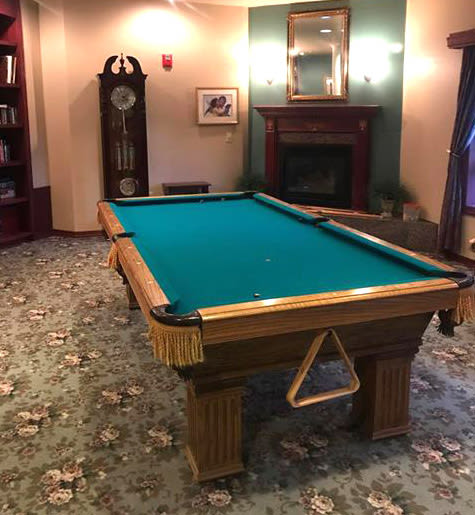donation of pool table to The Amber Assisted Living