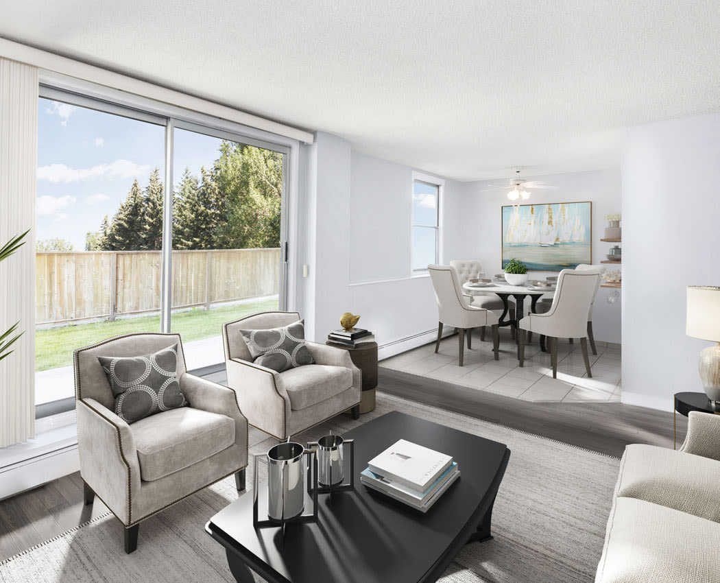 Lakeview Mews offers a naturally well-lit living room in Calgary, Alberta