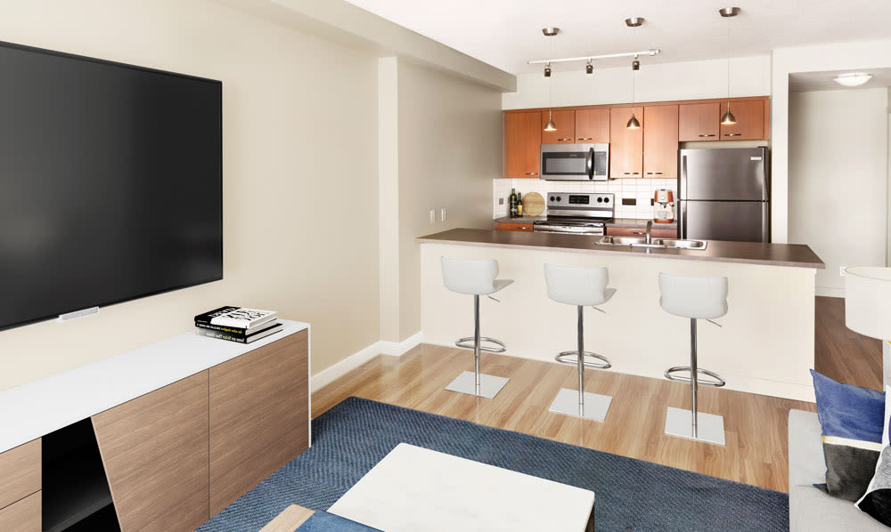 Rouleau offers a naturally well-lit living room in Calgary, Alberta