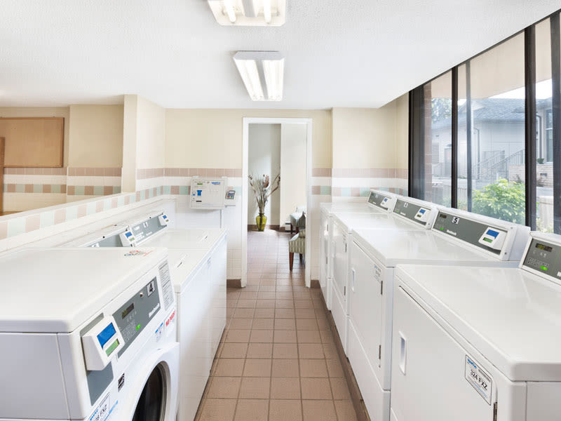 On-site laundry facility at Glenmore Gardens in Calgary. AB