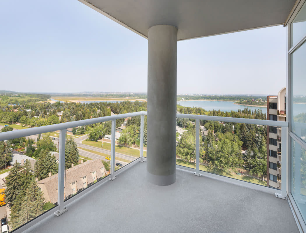 Private balcony at Elata in Calgary