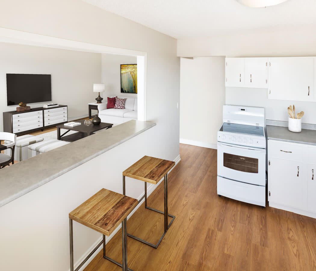 Enjoy apartments with a luxury living room at Saskatoon Tower