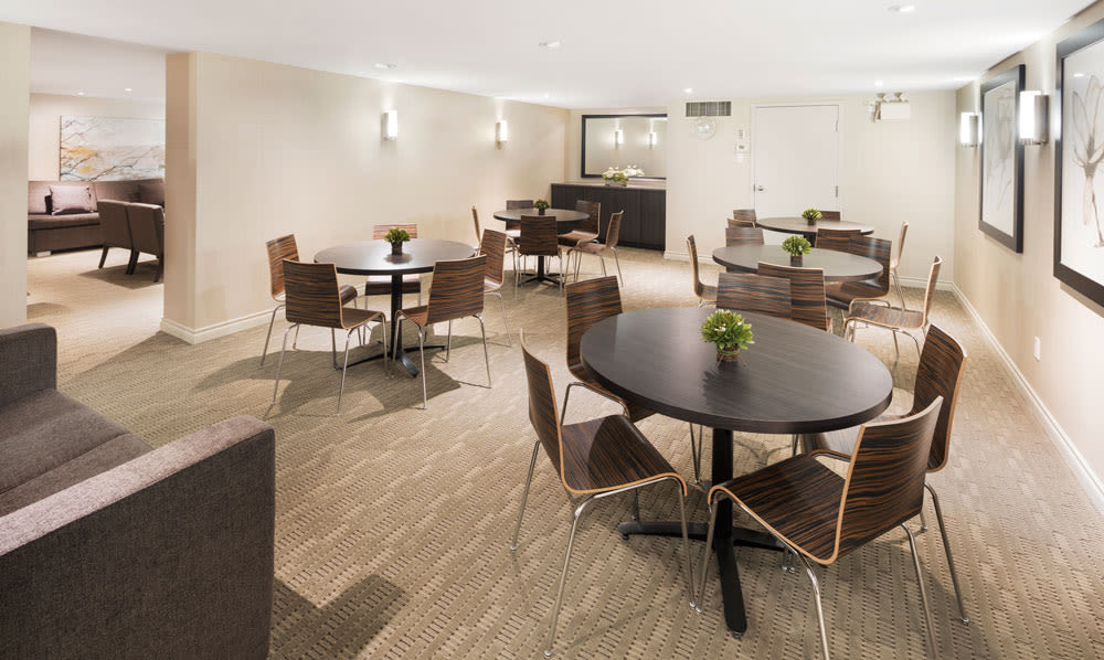 Common area for dining with other residents at Saskatoon Tower in Saskatoon, SK