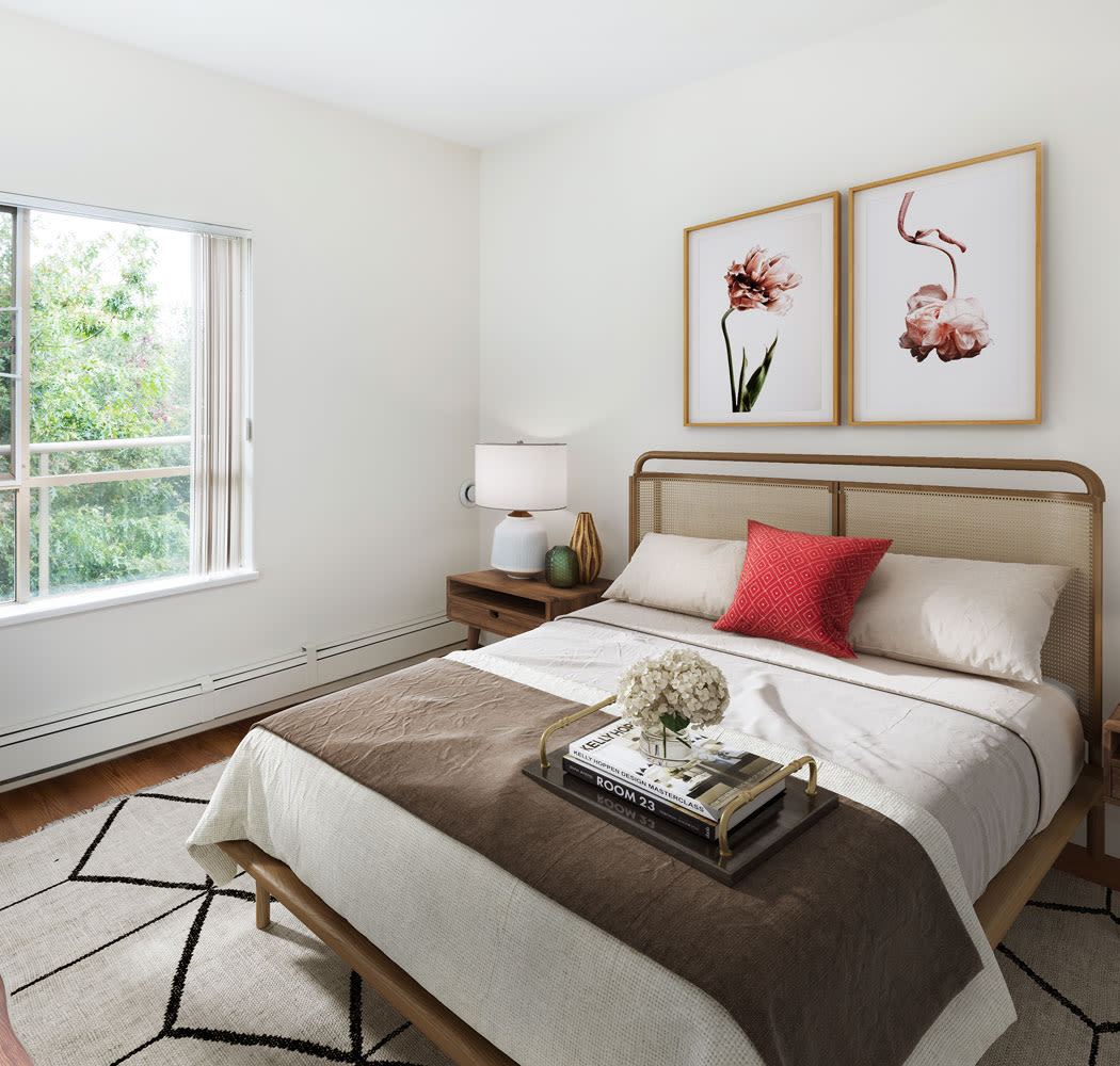 Beautiful bedroom at Dunway Court in Vancouver, British Columbia
