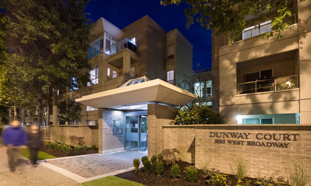 Exterior view of entrance at night at Dunway Court