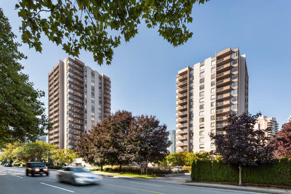 Exterior view of Parkview Towers in Burnaby, BC