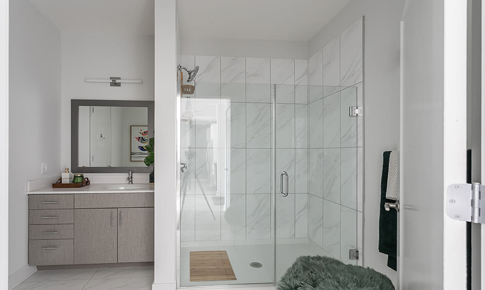 Luxury bathroom at 50 Front Luxury Apartments in Binghamton, New York