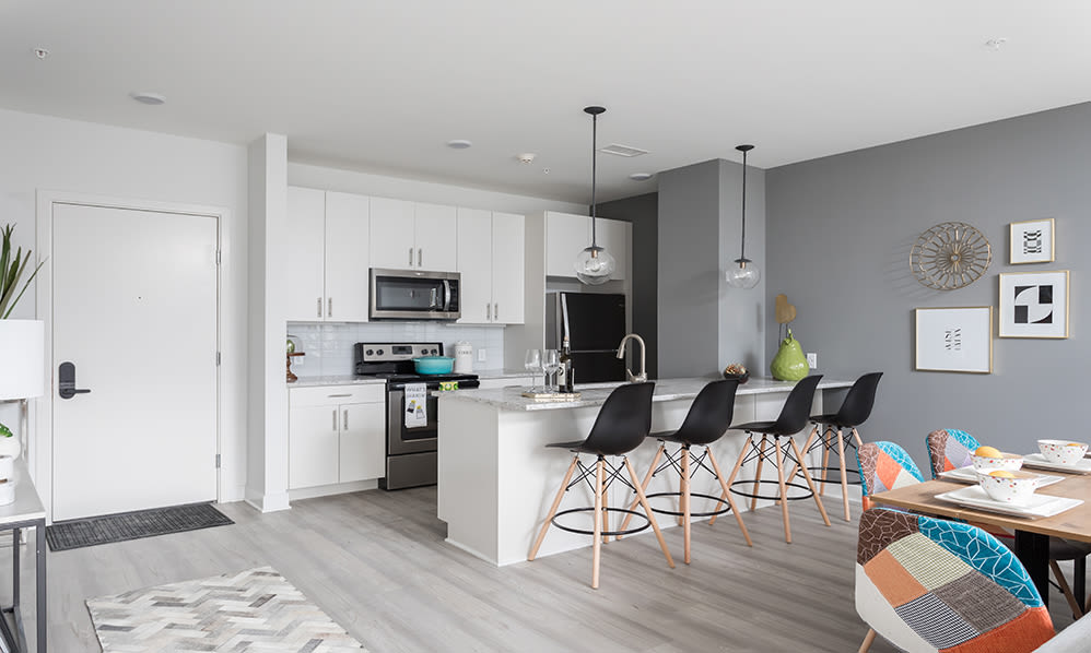 Modern kitchen at apartments in Binghamton, New York