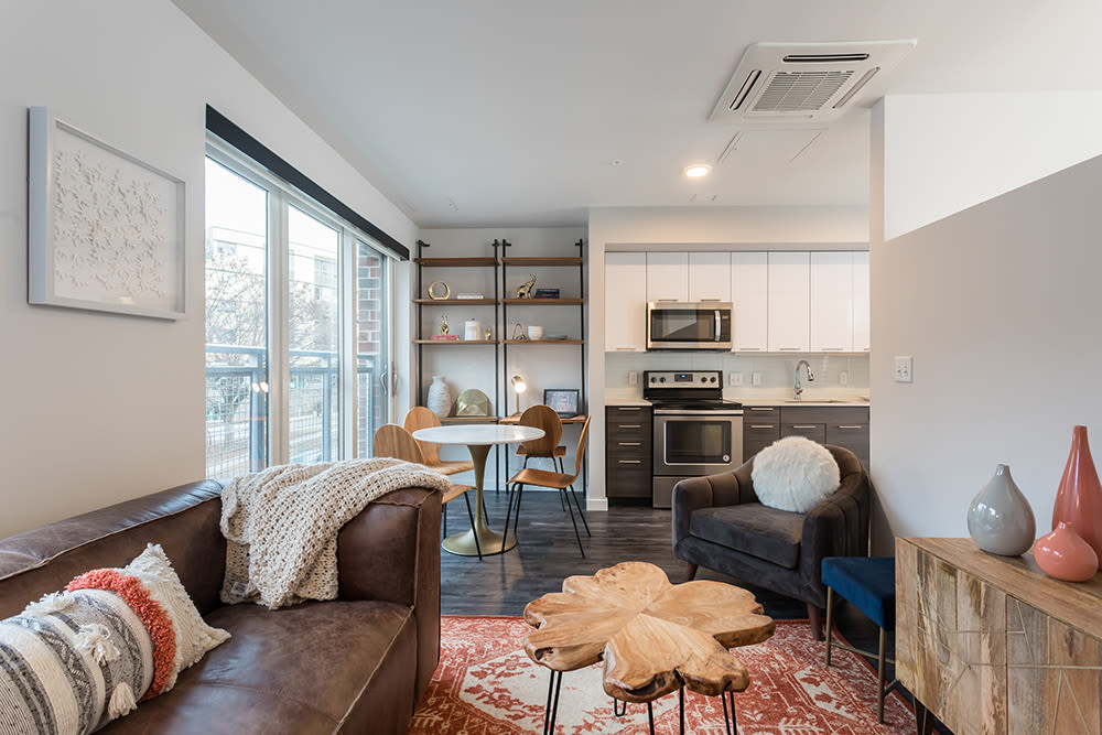 Cozy living room at City Centre Ithaca in Ithaca, New York