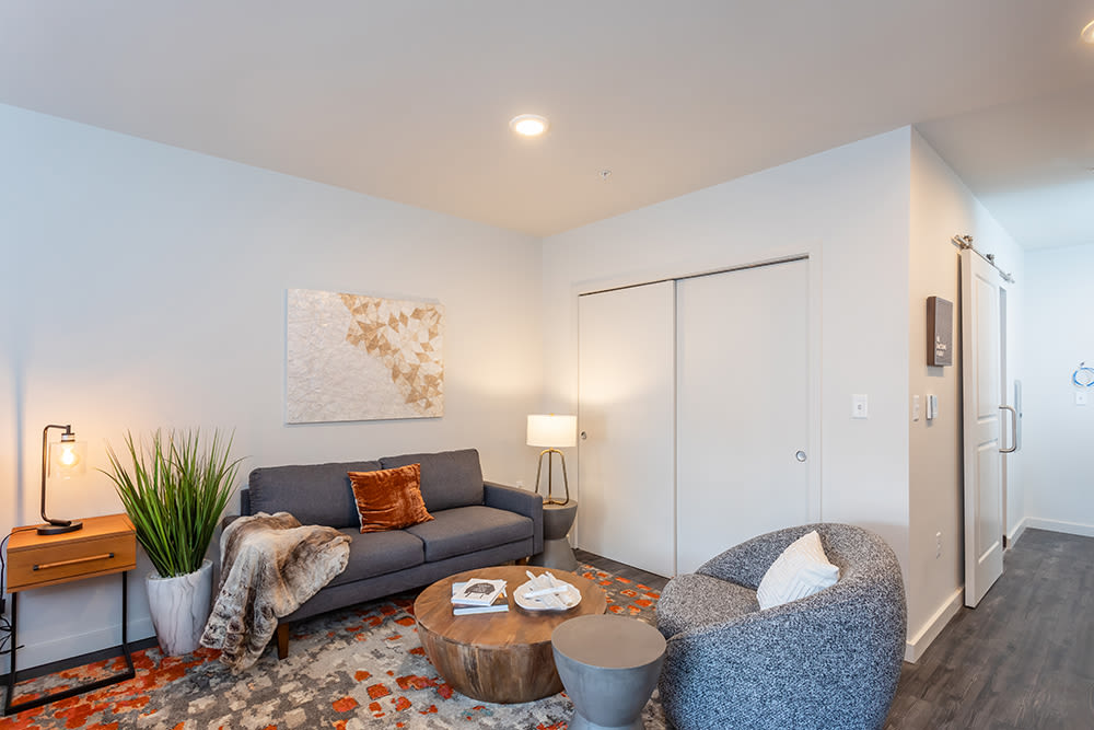 Modern living area at City Centre Ithaca in Ithaca, New York