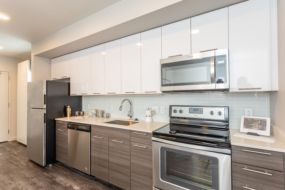 State-of-the-art stainless-steel appliances at apartments in Ithaca, New York