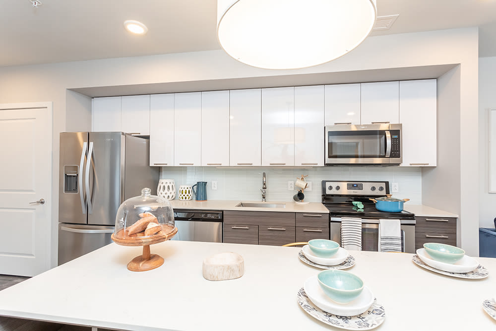 Stainless-steel appliances at apartments in Ithaca, New York