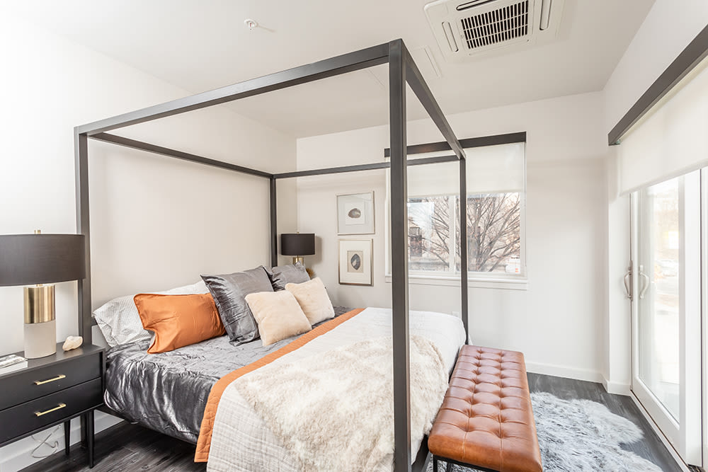 Cozy bedroom at apartments in Ithaca, New York