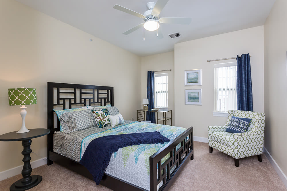 Luxury bedroom at Gateway Landing on the Canal home in Rochester, New York