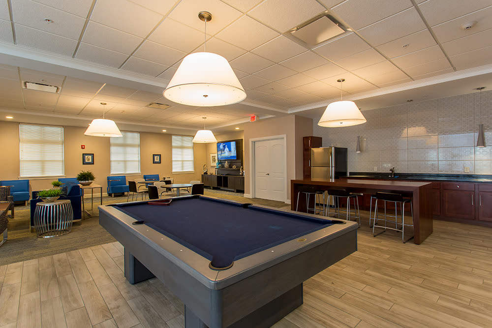 Billiard table at apartments in Rochester